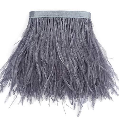 Sowder, orlo sfrangiato con piume di struzzo con nastro di raso per abito, per cucito, artigianato, costumi, decorazioni, confezione da 1,8m Grey