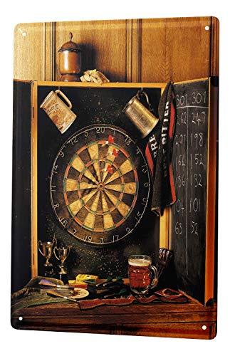 LEotiE SINCE 2004 Blechschild Sport Darts Scheibe Pfeile Deko Wand Schild 20x30 cm Vintage Retro Wanddekoration
