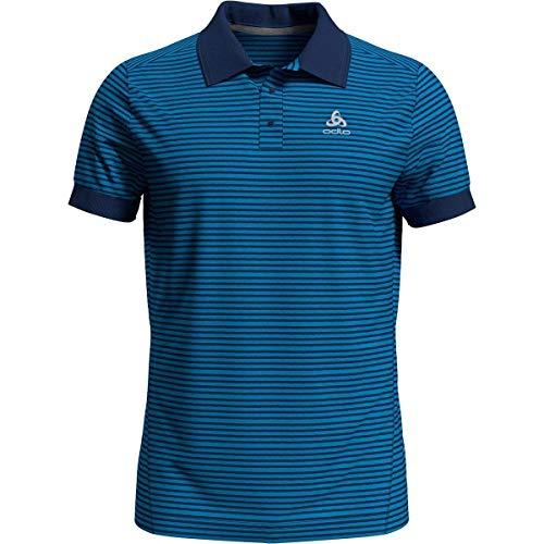 Odlo Herren Polo Shirt s/s Nikko Dry Poloshirt, Blue Aster - Estate Blue - Stripes, M