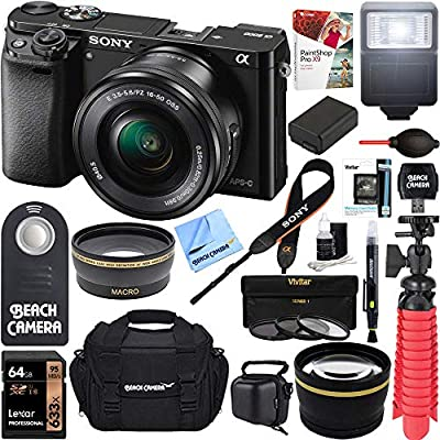 Sony Alpha a6000 24.3MP Wi-Fi Mirrorless Digital Camera + 16-50mm Lens Kit (Black) + 64GB SD Card + DSLR Photo Bag + Extra Battery + Wide Angle Lens + 2X Telephoto Lens + Flash Bundle by Sony