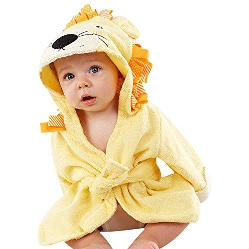 Kinder Bademäntel Baby Cotton Animal Bade Strickjacke Cardigan Nightgown Spa Handtuch Strandtuch (Löwe) (Yellow, S)
