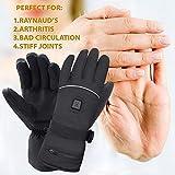 Mermaid Beheizte Handschuhe mit 7.4V-Akkus, Herrenhandschuhe für chronisch kalte Hand, Handwärmer-Handschuhe Erhitzte Motorradhandschuhe für Geschenke, Jagd, Arbeiten im Freien (Schwarz XL) - 9