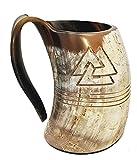 Bull Horn Odin Mug Natural Drinking Horn 8 pulgadas Con grabado Tankard horn Taza para cerveza vikinga Tankard hecha de toro Horn