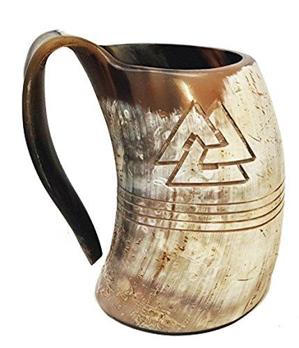 Bull Horn Odin Mug Natural Drinking Horn 8 Zoll mit Gravur Tankard Horn Bierbecher Wikinger Tankard aus Stier Horn