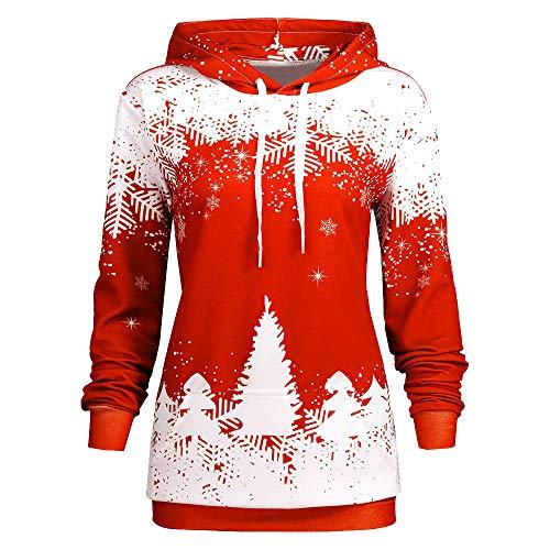 OSYARD Weihnachts Sweatshirt Christmas Pullover Damen, Frauen Weihnachten Schneeflocke Drucken Strickpullover mit Kapuze Langarm Kapuzenpullover Kordelzug Bluse Hoodie Oberteile (XL, Rot)