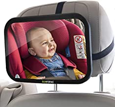 Sunferno Baby Car Mirror   Shatterproof, No Assembly Required, Adjustable   Rear Facing Car Seat Mirror for Effortlessly Monitoring Your Child in the Back Seat   Toddler Infant Carseat Mirror for Car