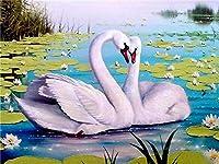 5D DIYダイヤモンド塗装刺繍白鳥クリスタル描画縫製ギフトフルダイヤモンドモザイククロスステッチ家の装飾-30cmx30cm