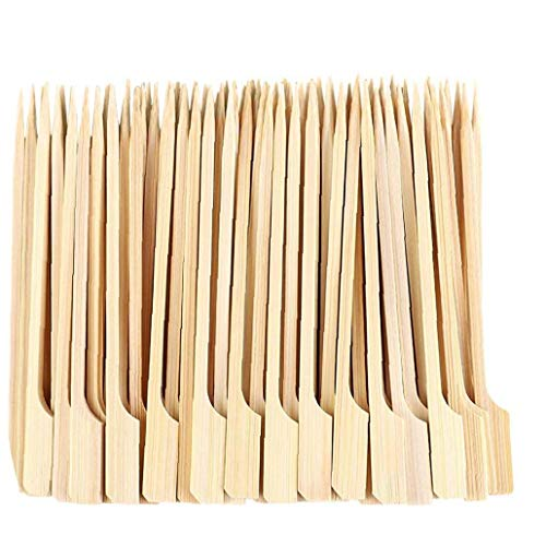 Pinchos de Madera Barbacoa Palos de bambú Pinchos Desechables Paddle Largo Palillos para Barbacoa Fruit Snacks 9 cm 100PCS