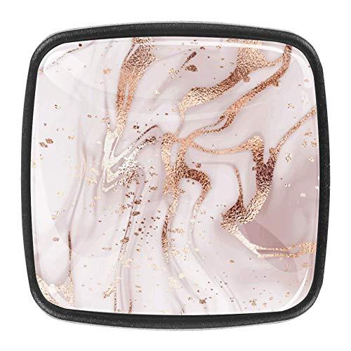 Drawer Cabinet Knobs Square Wardrobe 4pcs Door Handle Furniture Knobs Pull Handles Never Fade Rose Gold Glitter Splatter