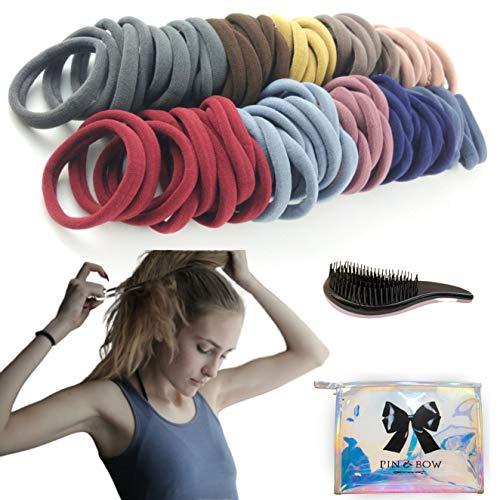 Hair Ties for Women, Kids and Baby - 50 Cotton Hair Bands, Come in a Super Cute Holographic Makeup Bag includes a Bonus Detangling Hair Brush - Strong, Soft, Stretchy, Damage-Free Ponytail Holders