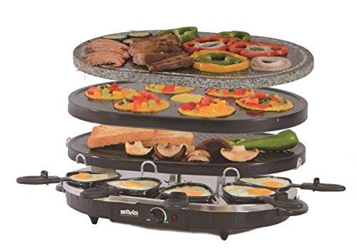 Silva Schneider Homeline RG-S 93 Kombi Raclette Grill, 2in1 Tischgrill mit Grillstein und 2 antihaftbeschichtete Alu-Grillplatten, stufenloser Regler, 1200W