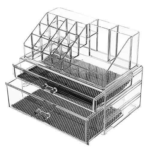 Organisateur de Cosmétiques de Bureau, Boîte de Rangement Cosmétique Acrylique Transparente de Bijoux, Boîte de Rangement pour Plateau a Cosmétiques Empilable de Grande Capacité - Transparent