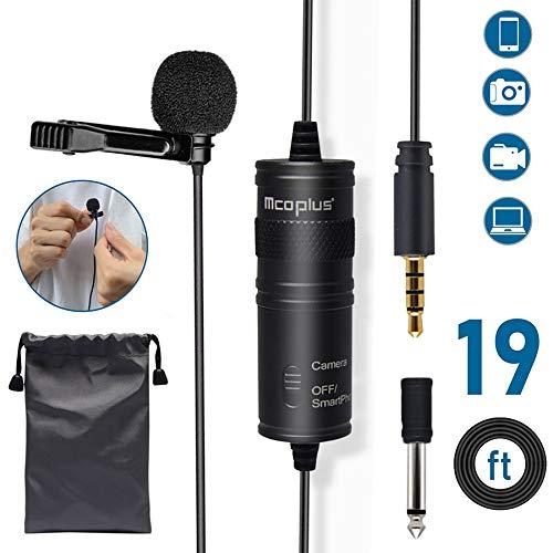 Microfono Lavalier Omnidirezionale, Mcoplus MCO-LVD600 Clip-on Microfono esterno 3,5 mm per Android IOS Telefono, DSLR, Fotocamera, Computer, Smart Phone (6M)