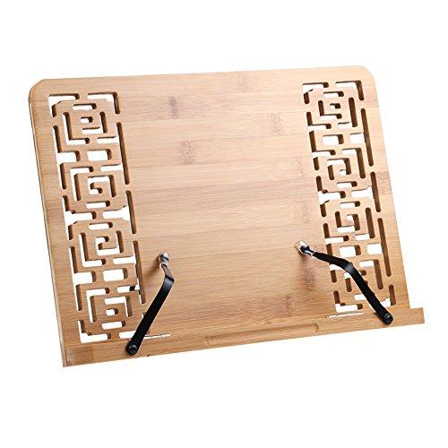 Bambú Soporte de Libro Lectura Atril Ajustable Plegable Estantes Escritorio Portátil para Leer Papeles Documentos Archivos Notación de Piano Tableta Ordenador Ipad Iphone,Regalo Ideal para Lectores