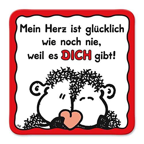 Sheepworld, Gruss & Co - 81039 - Untersetzer Nr. 23, Mein Herz ist glücklich wie noch nie, weil es Dich gibt!, Kork, 9,5cm x 9,5cm