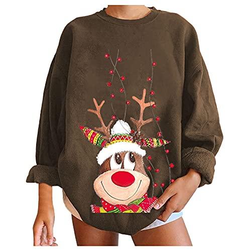 LODDD Womens Christmas Pullover Shirts Christmas Elk Print Crewneck Long Sleeve Casual Loose Fit Sweatshirt Tops Coffee