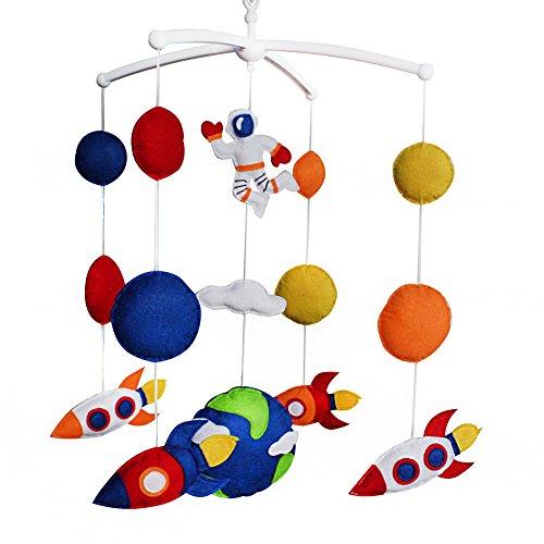 Bleu Rouge Univers Terre bébé Berceau Cloche à la Main Musical Mobile bébé Douche Cadeau pépinière décor pour garçons, Espace et fusée