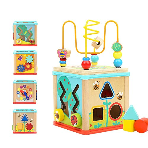 TOP BRIGHT Wooden Shape Sorter Activity Cube Toys for 1 Year Old Baby - 1st...