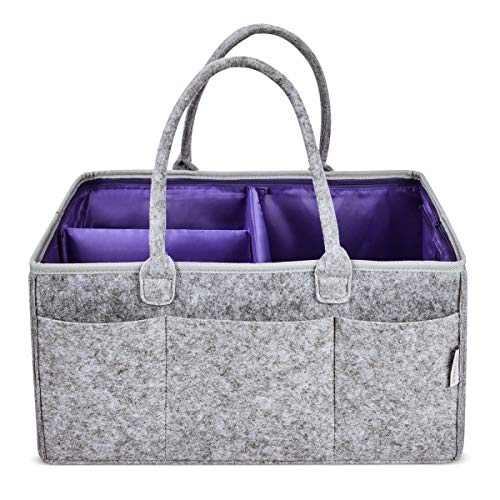 PURPLEHOLIC 8-Pocket X-Large Adjustable Diaper Caddy Felt Baby Organizer Nursery Storage Carrier Basket with Washable Lining for Diapers, Wipes, Crib Organization, Shower Gifts, Changing Table,Car