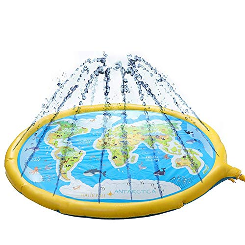 Alfombrilla de rociador para niños de 170 cm con encaje para rociar agua para exteriores, alfombrilla de juego con letras de agua (color: amarillo, tamaño: 175,3 x 139,7 cm)