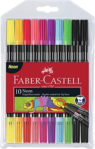 Faber-Castell 151109 - Doppelfasermaler 10er Etui, neon