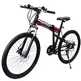 MercadoT Centurfit Bicicleta Plegable Rodada 26 con 21 Velocidades Bicicleta Bici Color Rojo