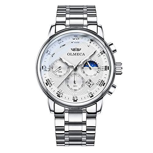 OLMECA Men's Watch Sports Dress Fashion Analog Quartz Watches Stainless Steel Chronograph Calendar Date Waterproof Wrist Watch for Men White Color 852M-GKBMgd
