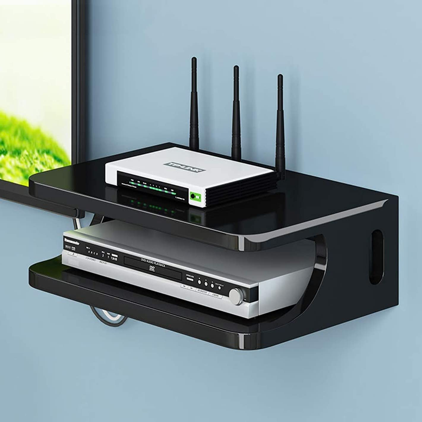 Floating Shelf Wall Mount Shelf Bracket for WiFi Router TV Box Set Top Box Modems Cable Boxes DVD Players Streaming Media Devices (Color : Black)