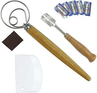 FOONEE Mezclador De Batidor De Pasta Danesa, Batidor De Pasta De Acero Inoxidable con 2 Cuchillas De Pan De Plástico, Cuchillo De Pan, Bolsillo De Cuchilla, 5 Cuchillas