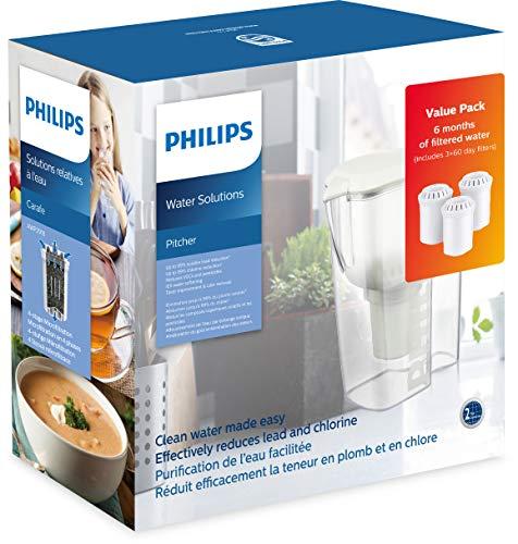 Philips Starter-Set Wasserfilter-Karaffe AWP2918 + 3 Filter-Kartuschen, gegen Kalk, Blei, Chlor, Pestizide, Mikro-Plastik, Wasser-Filter mit Mikrofiltration