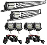 50' 684W Curved Triple Row LED Light Bar + 22' 306W LED Light Bar + 4' 60W LED Pods Off Road Driving Fog Lights w/Rocker Switch Wiring Harness for Truck Car ATV SUV Jeep Boat