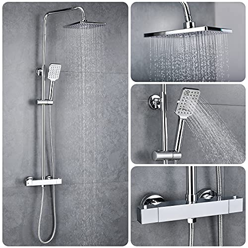 Solepearl Thermostat Shower System, Square Thermostatic 38 °C Shower Mixer Set with Rainfall Shower Head, Handheld Shower, Riser Rail, Adjustable Height Anti Scald Chrome Shower Set