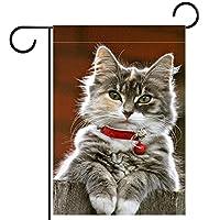 ウェルカムガーデンフラッグ(12x18in)両面垂直ヤード屋外装飾,クリスマス幸せな猫