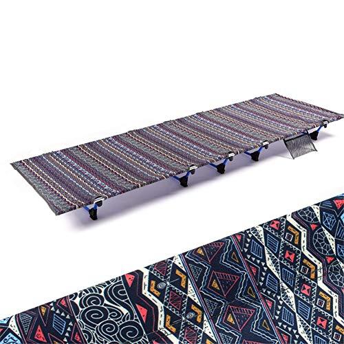 GYFHMY opvouwbare campingbedje, 7075 aluminiumframe, zware 600D Oxford doek, luxe eenpersoons ultra lichtgewicht bed voor outdoor wandelen
