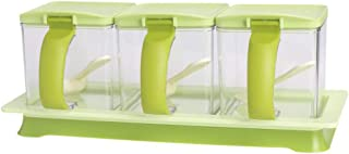 METKA Kitchen Seasoning Box Set - 3 Separate Handle Condiment Boxes-Seasoning Box Jar Plastic Condiment Transparent Storage Container- Cruet with Cover and Spoon (Green)