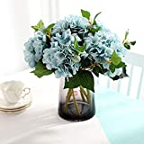 Famibay Hortensie Künstliche Blumen 3 Stück Seide Gefälschte Blumen für Zuhause Hochzeit Party Dekoration (Tiefes Blau)