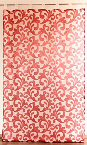 Rideau Double Elis N°19, Extra Long, avec Passants 140 x 285, Polyester, Bordeaux, 140 * 285