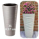 Macetero XL redondo con efecto 3D, ondas – Color: gris con bandeja extraíble, diámetro 30 x 57 cm