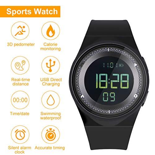RCruning-EU Schrittzähler Fitness Armband Wasserdicht IP68 Aktivitätstracker,Schrittzähler,Kalorienzähler Ohne Bluetooth für Damen Kinder Herren Ohne App Handy (Gray)