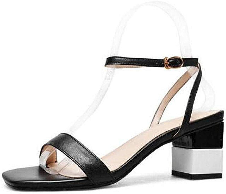 Sandals Damen, College Style Lederfarbe Passend Komfortable Ledersandalen (Farbe (Farbe (Farbe   SCHWARZ, größe   34)  5b61bd
