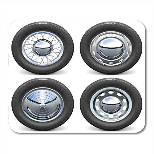 Mauspads Auto Schwarz Realistische Autoreifen mit Chromscheiben Weiß Reifen Auto Mauspad für Notebooks, Desktop-Computer Mausmatten, Büromaterial