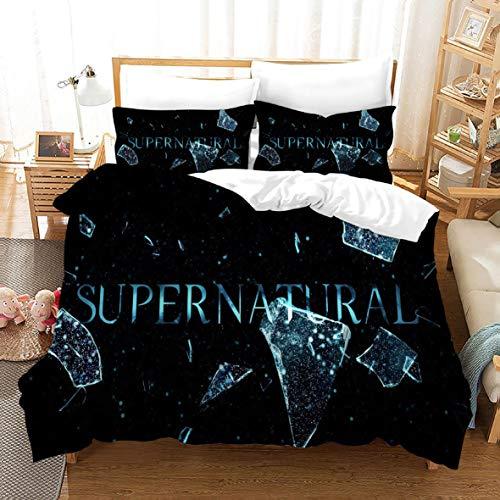 Ruiqieor Bettwäsche 220x240cm,Supernatural Bettwäsche Set 3 Teilig, Supernatural Bettbezug mit Reißverschluss,3D Bettwäsche, KinderBettwäsche,100% Mikrofaser,3D-Digitaldruck(#16)