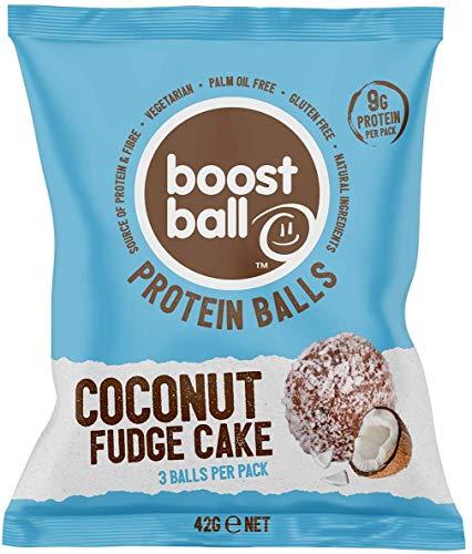 Boostballs Boostball Protein Balls, High Protein Healthy Snack, Gluten Free, Protein Bar Alternative - Coconut Fudge Cake Flavour, Pack of 12 x 42g, BBCFC012