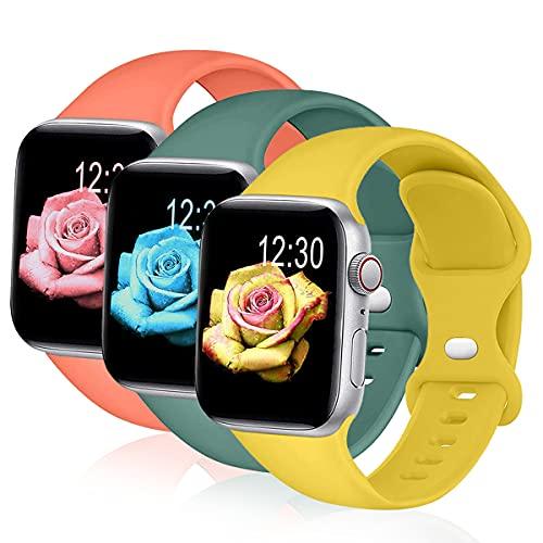 Sichy Correa Compatible con Apple Watch 44 mm 40 mm 38 mm 42 mm, Correas de muñeca de Repuesto de Silicona compatibles con iWatch Series 6/5/4/3/2/1 /SE,40mm/38mm M/L,Amarillo Mango/Verde Pino/Coral