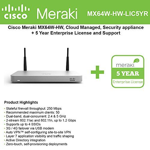 Cisco Meraki MX64W Wireless Firewall Security Appliance Bundle, 200Mbps FW, 5xGbE Ports - Includes 5 Years Enterprise License