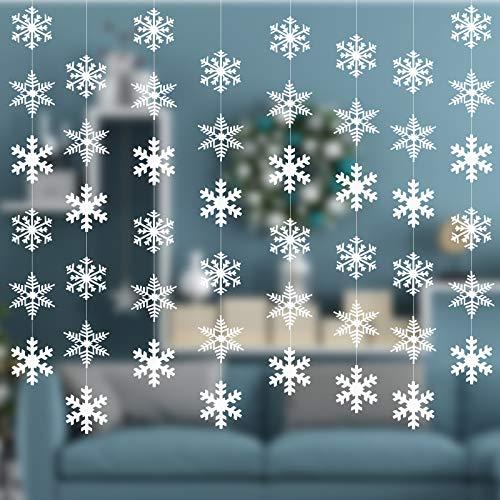 AirSMall 8Pcs Schneeflocke Girlande Hängend Schneeflocken Schnee Dekohänger Papier Deko zum Aufhängen Winter Weihnachten Dekoration Snowflakes String für Weihnachtsbaum Weihnachtsdeko Neujahr (Weiß)