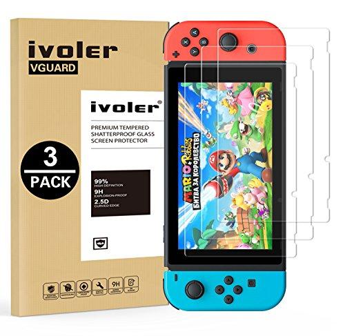 iVoler [3 Stuks] Beschermfolie Compatibel met Nintendo Switch Screen Protector, Film van Gehard Glas Schermbeschermer met [9H-hardheid] [Anti-kras] [Kristalhelder] [Geen bellen]