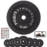 POWRX - Dischi Pesi ghisa 30 kg Set (2 x 15 kg) - per manubri e bilancieri con Braccio da 30 mm + PDF Workout (Nero)