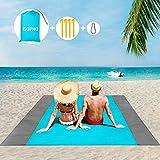 ISOPHO Picknickdecke 200 x 210 cm Stranddecke Wasserdicht, Strandmatte 4 Befestigung Ecken Stranddecke Sandfrei/Picknick für den Strand, Campen, Wandern und Ausflüge(Blau)