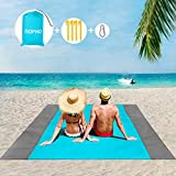 ISOPHO Picknickdecke 200 x 210 cm Stranddecke Wasserdicht, Strandmatte 4 Befestigung Ecken Stranddecke